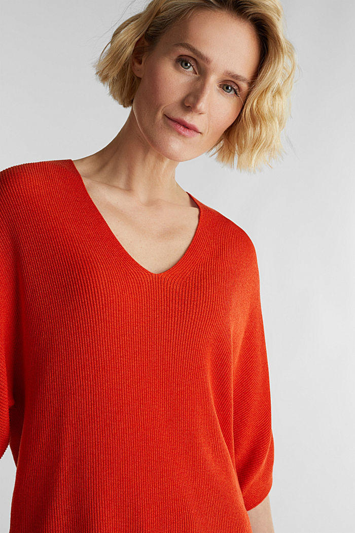With TENCEL™: raglan jumper, RUST ORANGE, detail image number 6