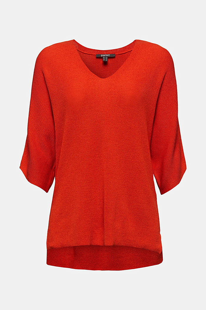 With TENCEL™: raglan jumper, RUST ORANGE, detail image number 7