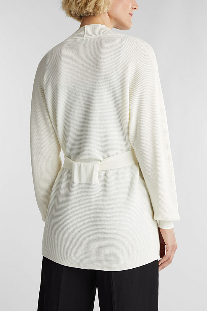 With TENCEL™: cardigan with a belt, OFF WHITE, detail image number 3