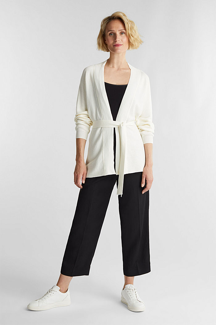With TENCEL™: cardigan with a belt, OFF WHITE, detail image number 1
