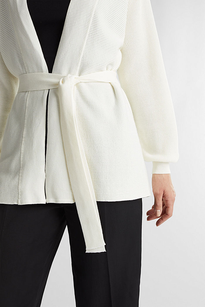 With TENCEL™: cardigan with a belt, OFF WHITE, detail image number 2