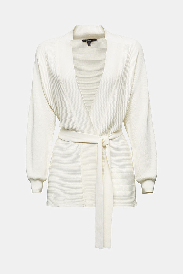 With TENCEL™: cardigan with a belt, OFF WHITE, detail image number 5