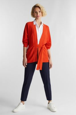 With TENCEL™: cardigan with a belt, RUST ORANGE, detail