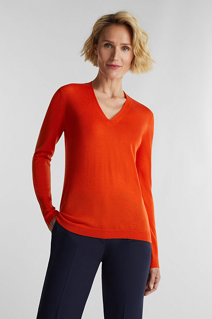 Made of wool/silk: V-neck jumper, RUST ORANGE, detail image number 0
