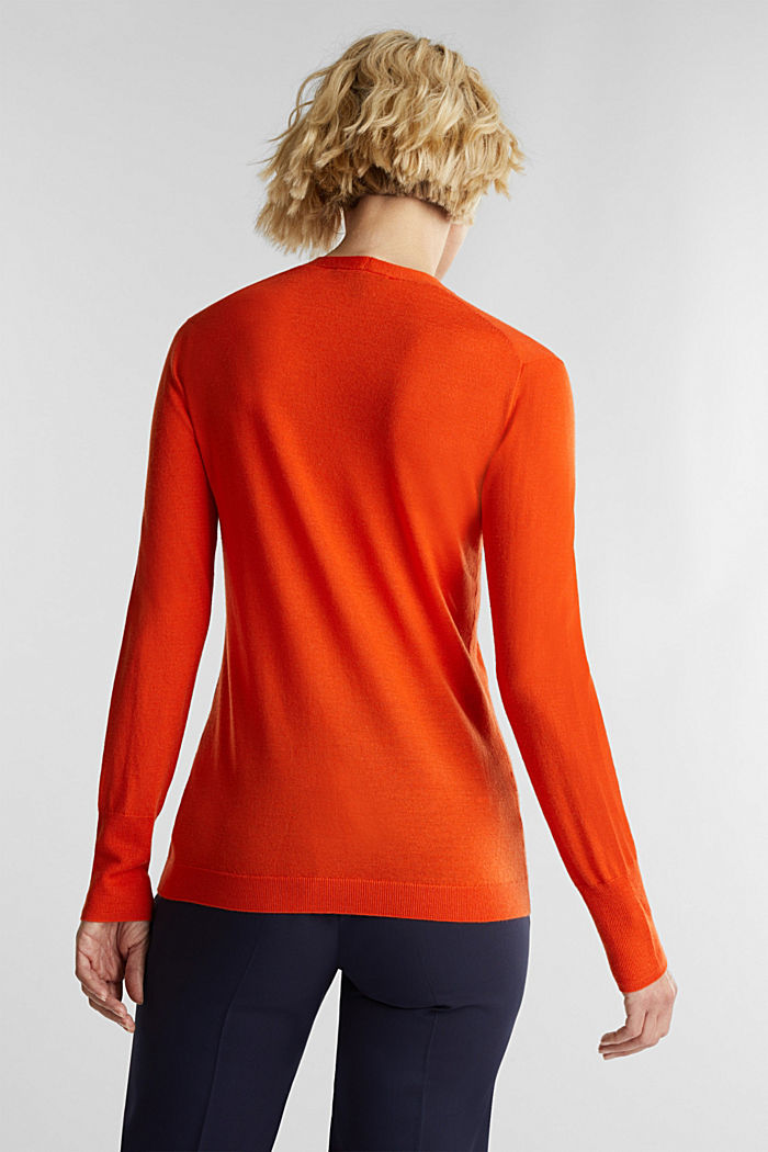 Made of wool/silk: V-neck jumper, RUST ORANGE, detail image number 3