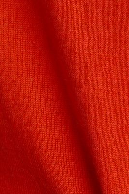 Made of wool/silk: V-neck jumper, RUST ORANGE, detail