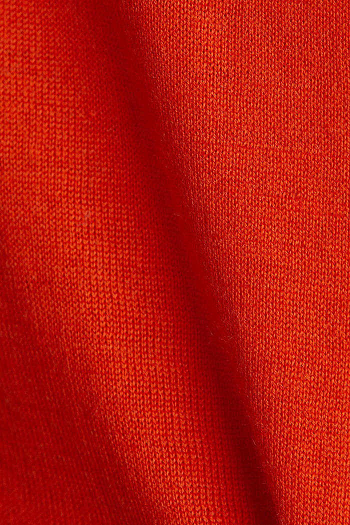 Made of wool/silk: V-neck jumper, RUST ORANGE, detail image number 4