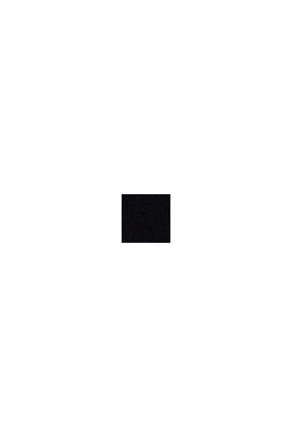 Ullmix med alpacka: ribbad kofta, BLACK, swatch