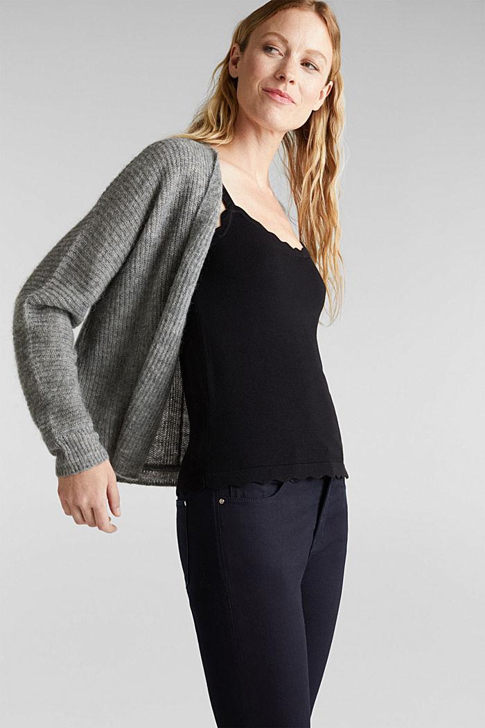 Blended wool with alpaca: ribbed cardigan, GUNMETAL, detail image number 0