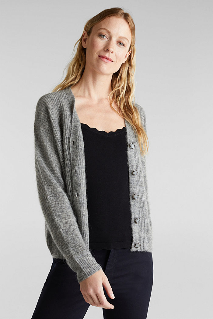 Blended wool with alpaca: ribbed cardigan, GUNMETAL, detail image number 5
