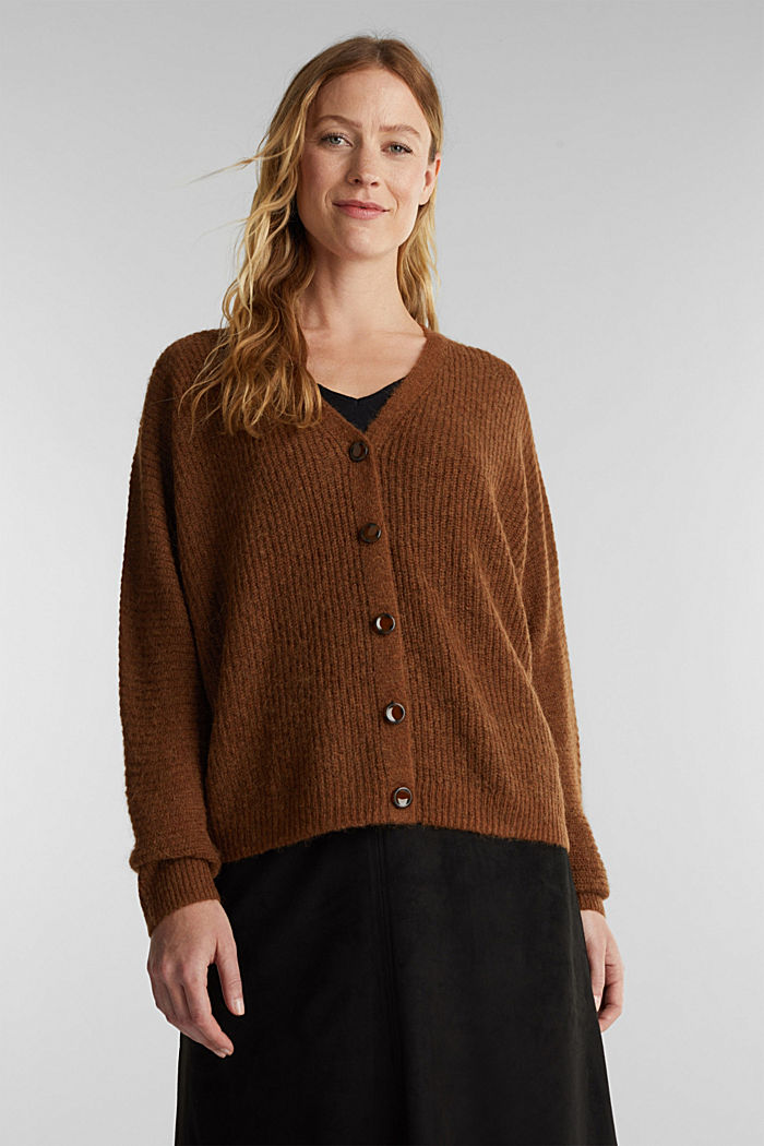 Blended wool with alpaca: ribbed cardigan, TOFFEE, detail image number 0