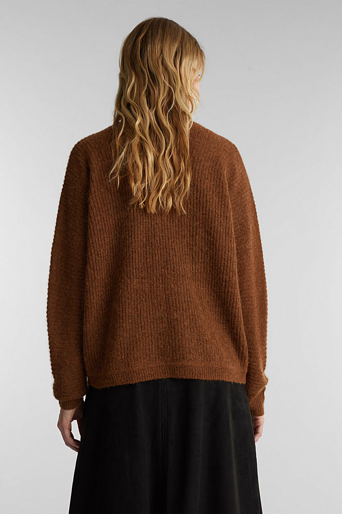 Blended wool with alpaca: ribbed cardigan, TOFFEE, detail image number 3