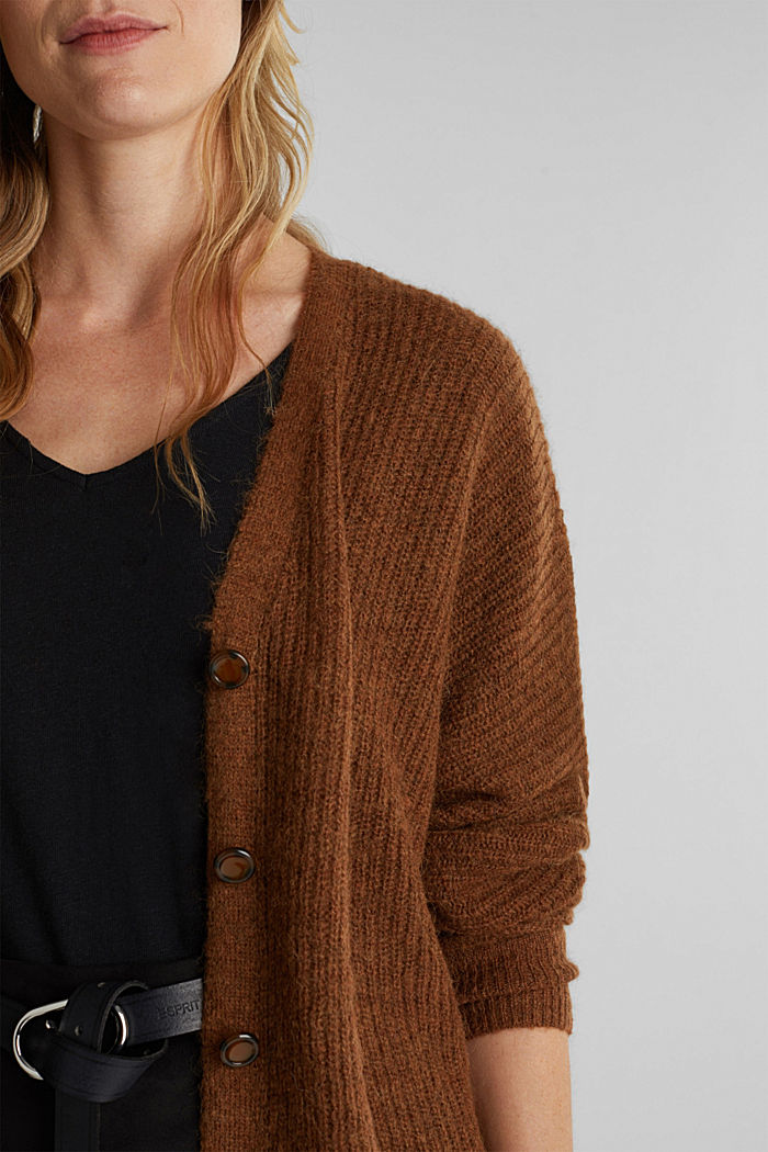 Blended wool with alpaca: ribbed cardigan, TOFFEE, detail image number 2