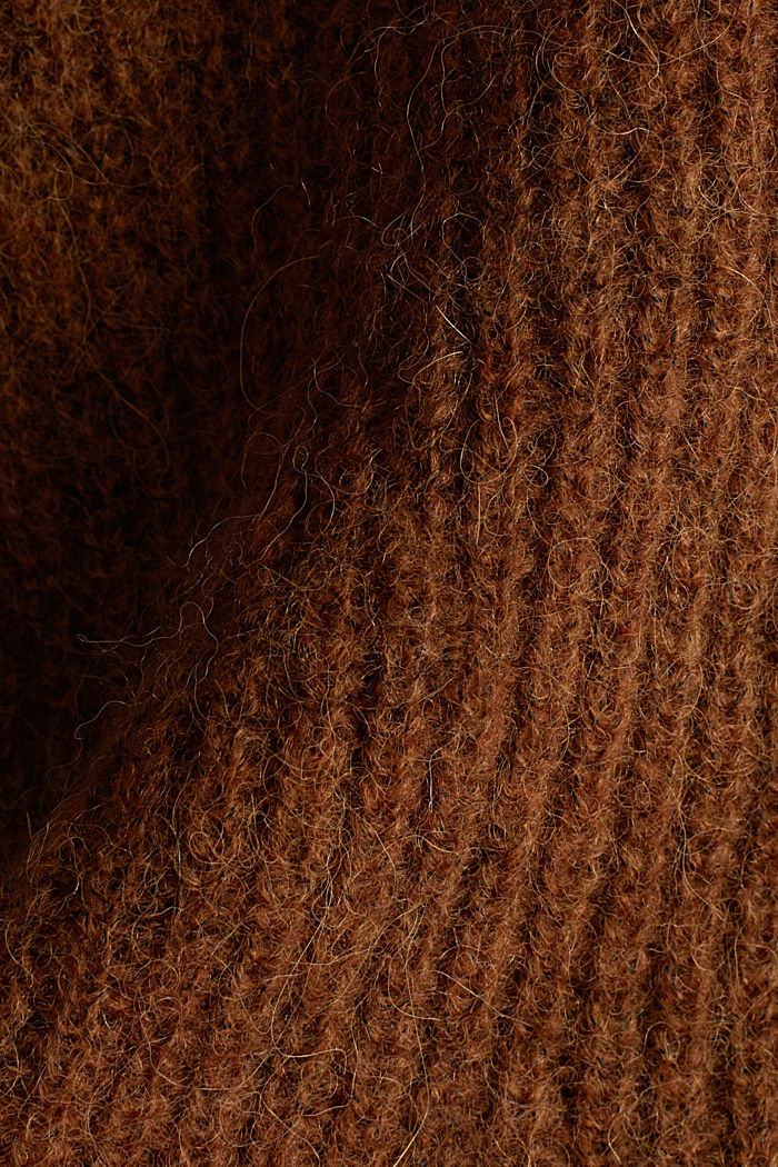 Blended wool with alpaca: ribbed cardigan, TOFFEE, detail image number 4