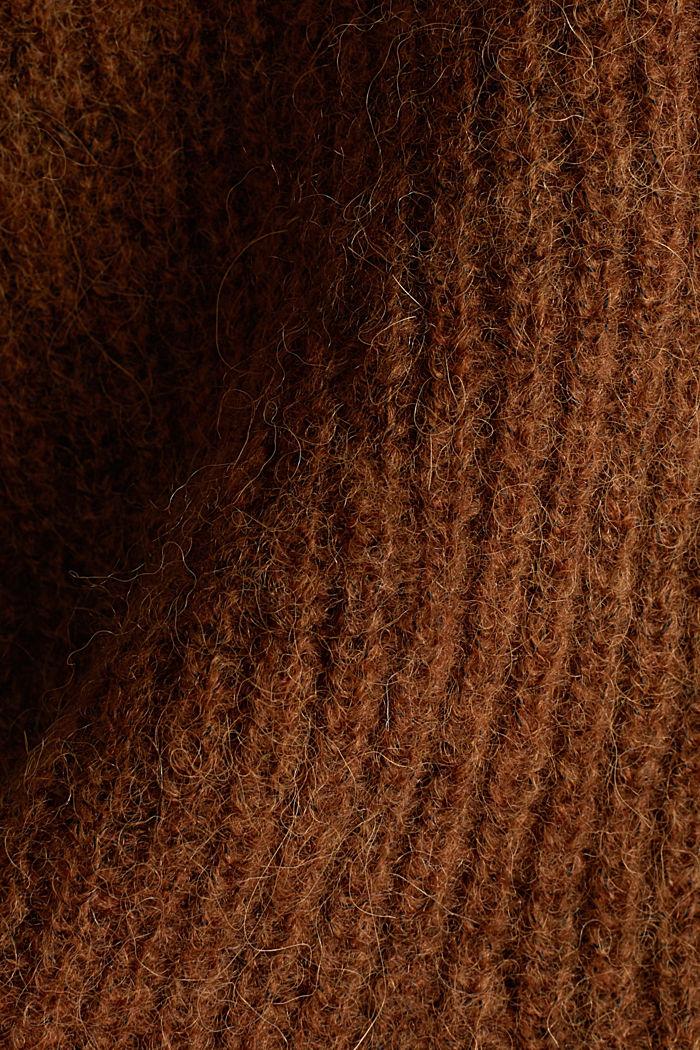Směs vlny s alpakou: žebrový kardigan, TOFFEE, detail image number 4