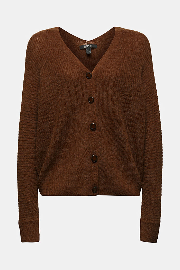 Blended wool with alpaca: ribbed cardigan, TOFFEE, detail image number 5