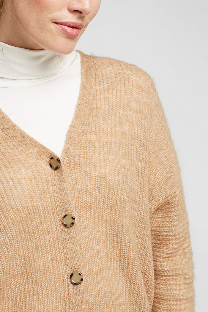 Blended wool with alpaca: ribbed cardigan, CAMEL, detail image number 2