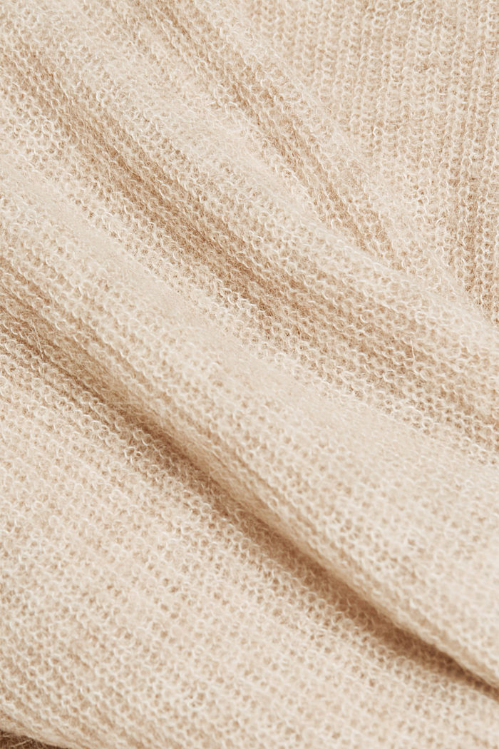 Blended wool with alpaca: ribbed cardigan, SAND, detail image number 4
