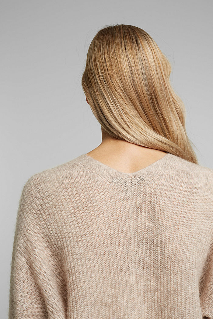 Blended wool with alpaca: ribbed cardigan, SAND, detail image number 5