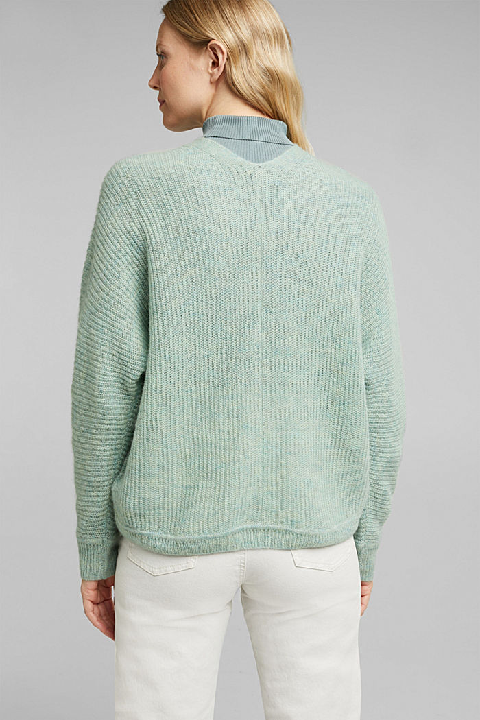 Blended wool with alpaca: ribbed cardigan, PASTEL GREEN, detail image number 3