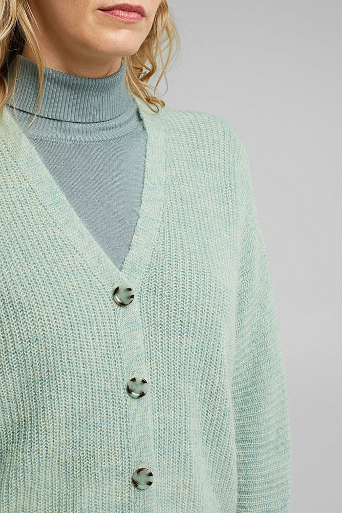 Blended wool with alpaca: ribbed cardigan, PASTEL GREEN, detail image number 2