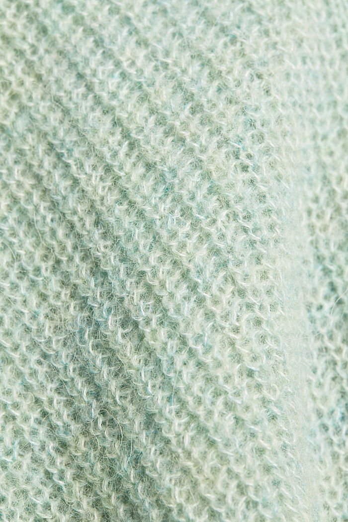Blended wool with alpaca: ribbed cardigan, PASTEL GREEN, detail image number 4