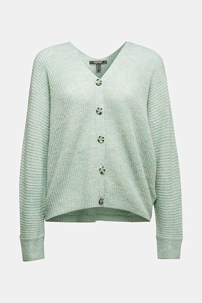 Blended wool with alpaca: ribbed cardigan, PASTEL GREEN, detail image number 5