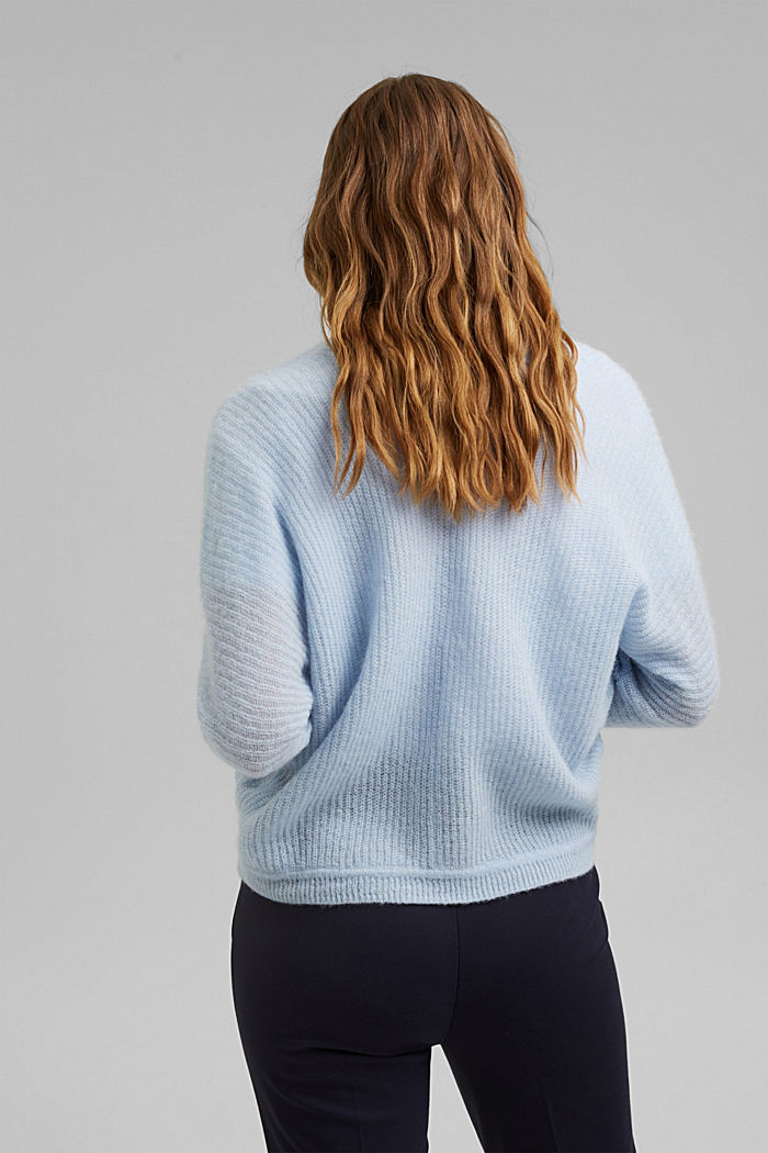 Blended wool with alpaca: ribbed cardigan, PASTEL BLUE, detail image number 3