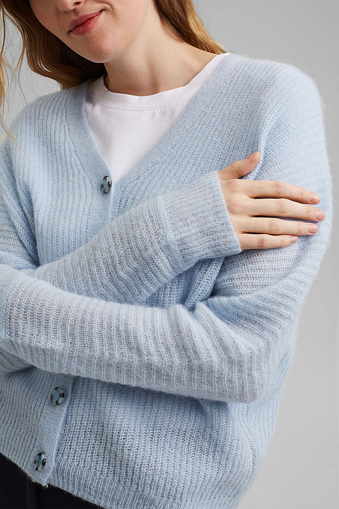 Blended wool with alpaca: ribbed cardigan, PASTEL BLUE, detail image number 2
