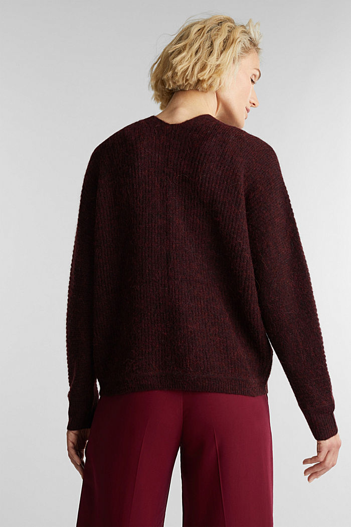 Blended wool with alpaca: ribbed cardigan, BORDEAUX RED, detail image number 3