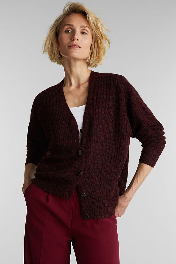 Blended wool with alpaca: ribbed cardigan, BORDEAUX RED, detail image number 5
