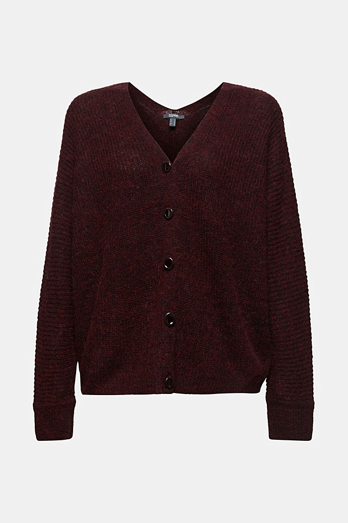 Blended wool with alpaca: ribbed cardigan, BORDEAUX RED, detail image number 6