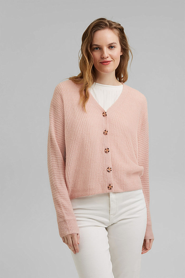 Blended wool with alpaca: ribbed cardigan, NUDE, detail image number 0