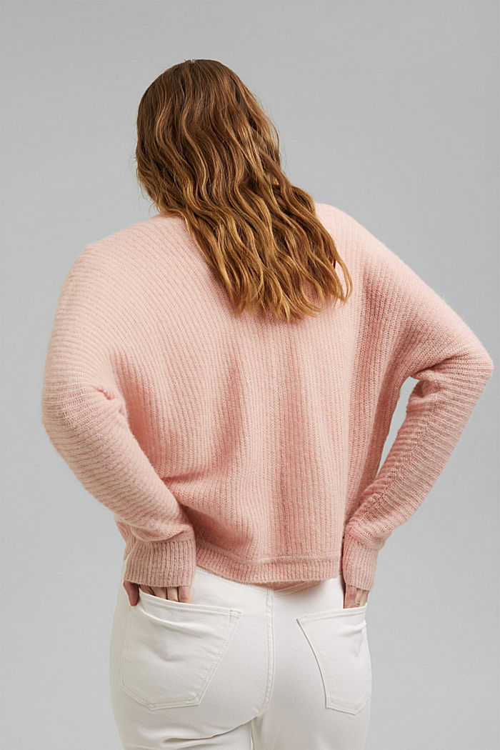 Blended wool with alpaca: ribbed cardigan, NUDE, detail image number 3
