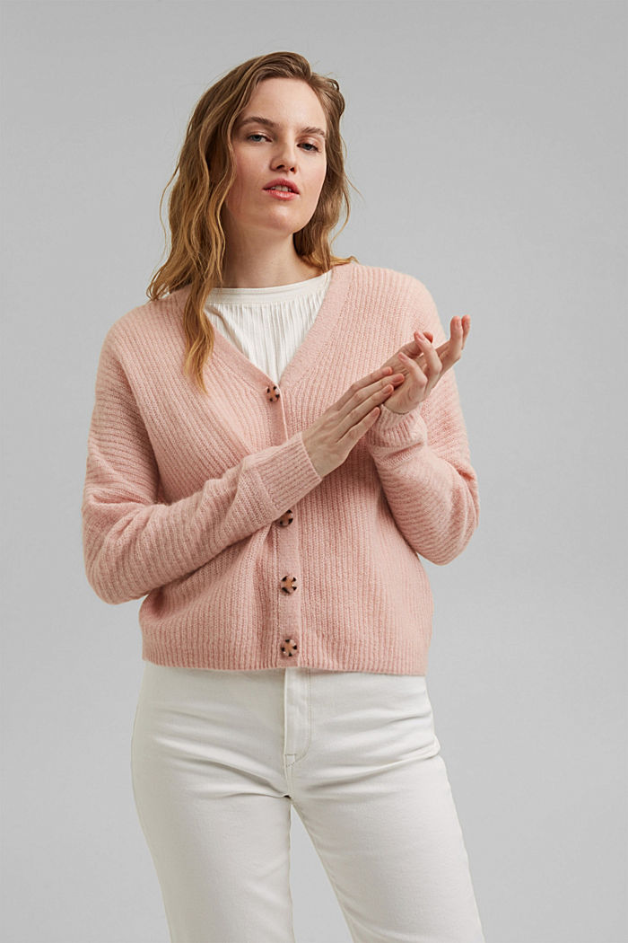 Blended wool with alpaca: ribbed cardigan, NUDE, detail image number 5