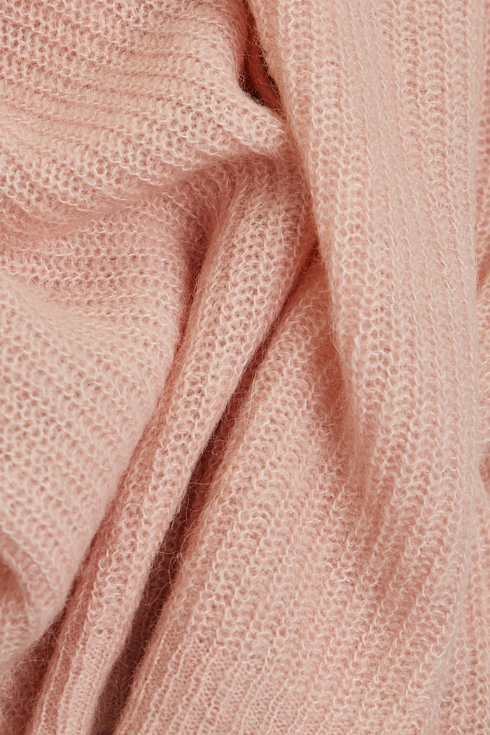 Blended wool with alpaca: ribbed cardigan, NUDE, detail image number 4