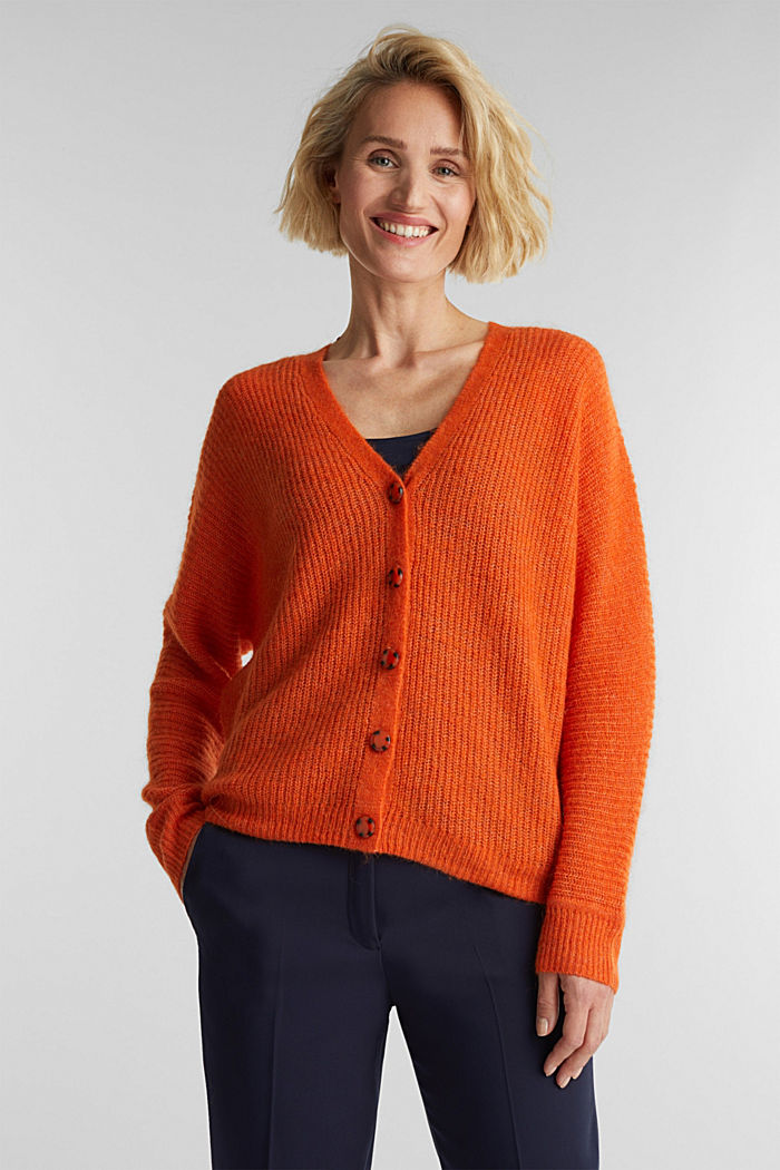 Blended wool with alpaca: ribbed cardigan, RUST ORANGE, detail image number 0