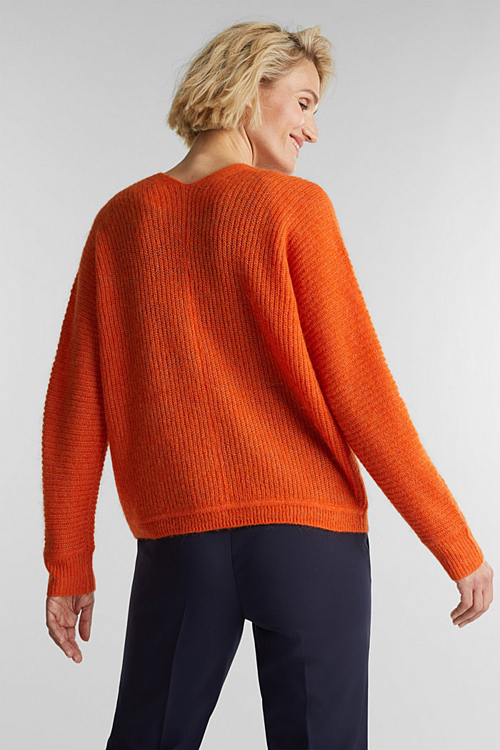 Blended wool with alpaca: ribbed cardigan, RUST ORANGE, detail image number 3