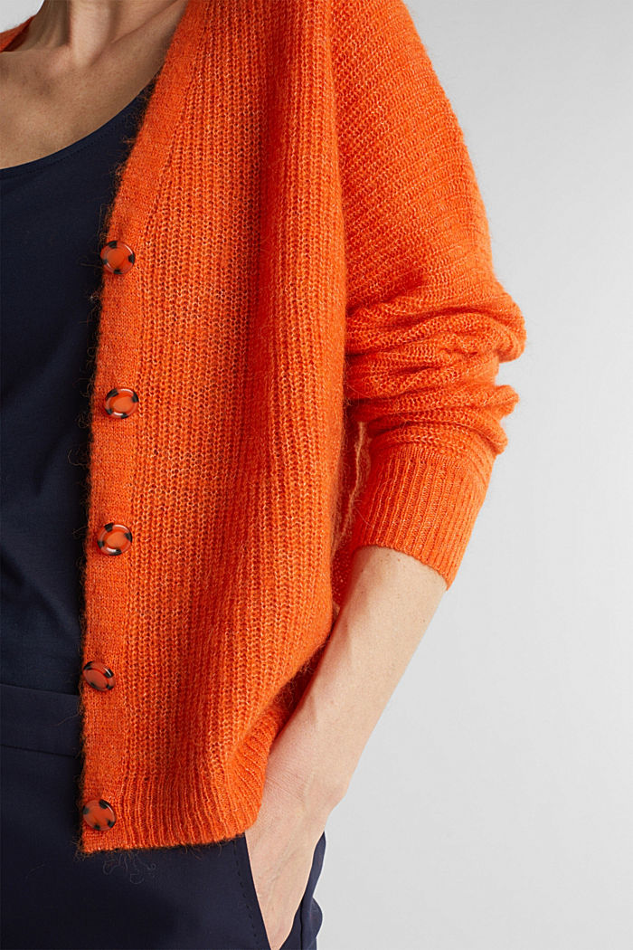 Blended wool with alpaca: ribbed cardigan, RUST ORANGE, detail image number 2
