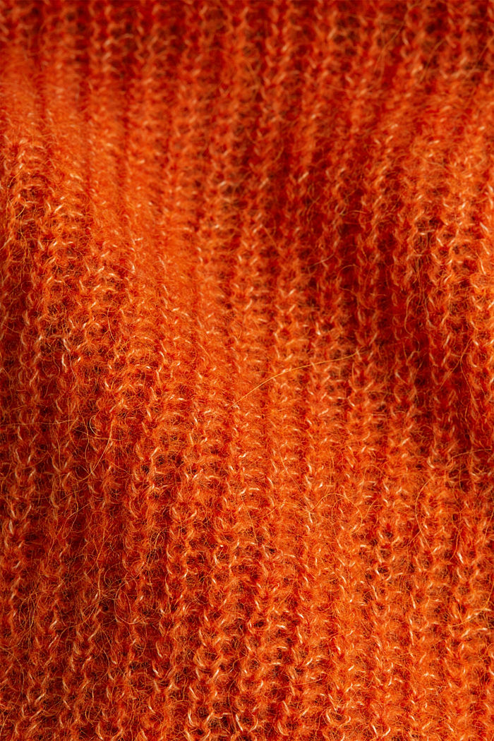 Blended wool with alpaca: ribbed cardigan, RUST ORANGE, detail image number 4