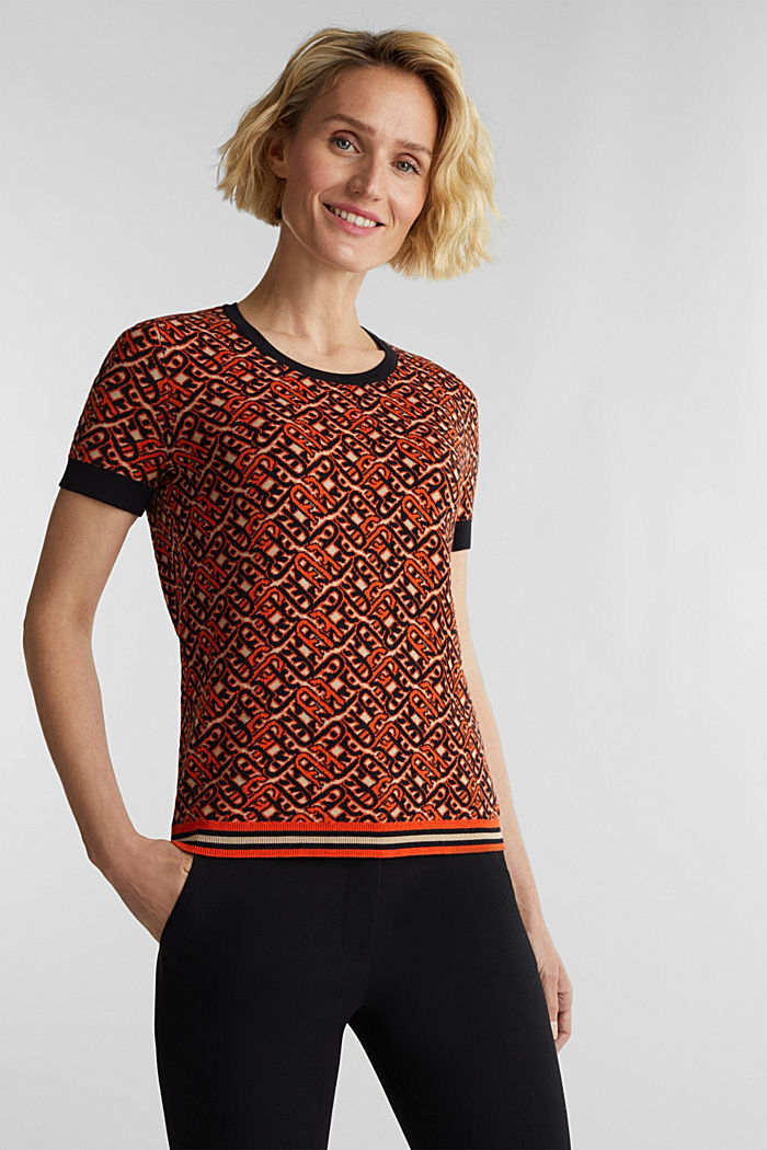 Short-sleeved jumper in a jacquard look, RUST ORANGE, detail image number 0