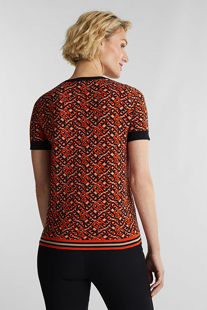 Short-sleeved jumper in a jacquard look, RUST ORANGE, detail image number 3