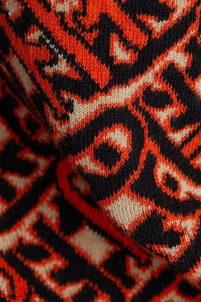 Short-sleeved jumper in a jacquard look, RUST ORANGE, detail image number 4