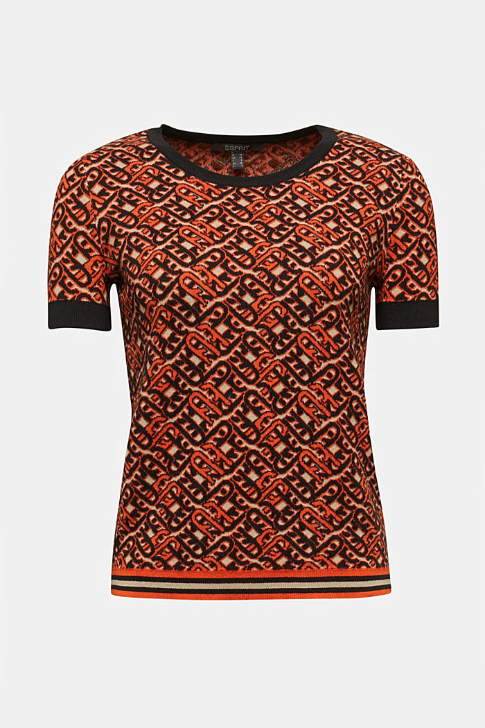 Short-sleeved jumper in a jacquard look, RUST ORANGE, detail image number 5