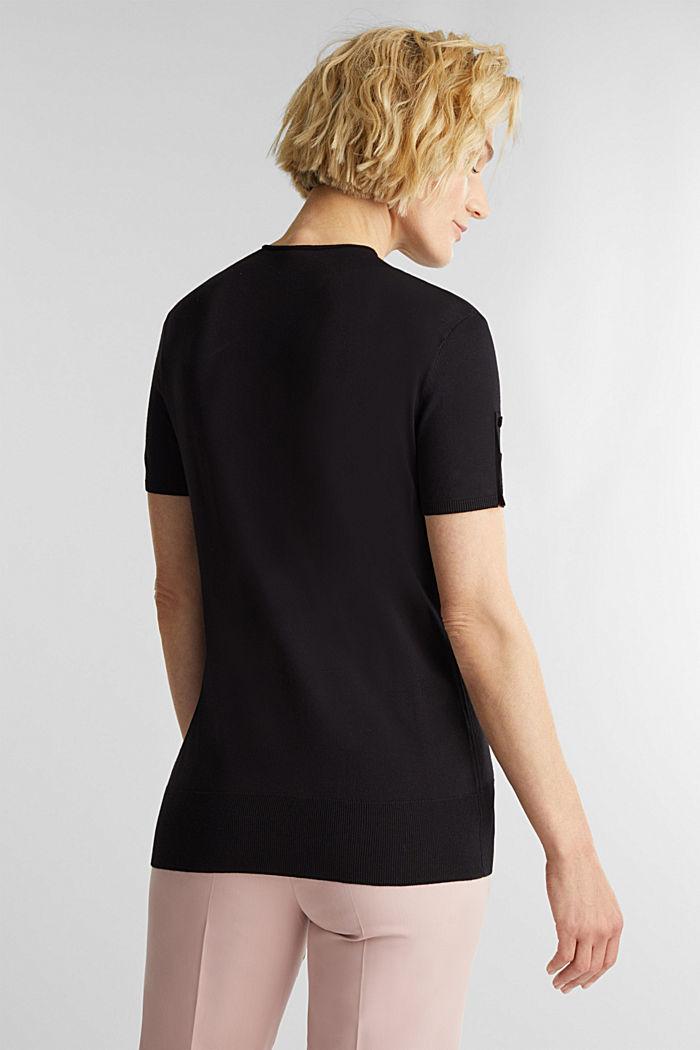 Short sleeve jumper made of LENZING™ ECOVERO™, BLACK, detail image number 3