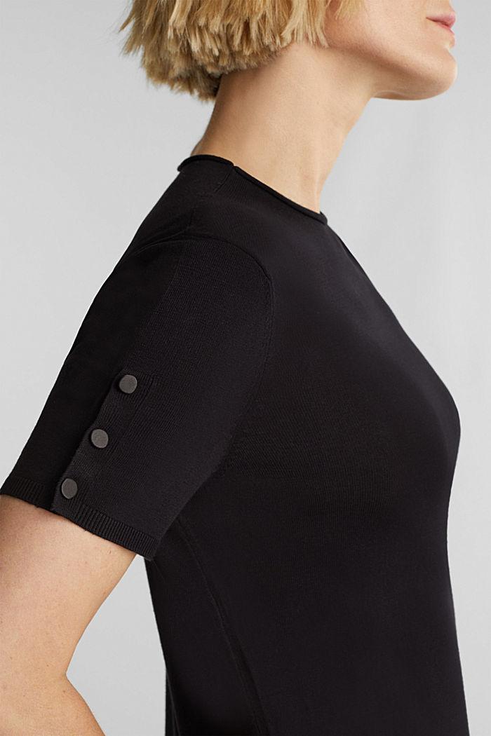 Short sleeve jumper made of LENZING™ ECOVERO™, BLACK, detail image number 2