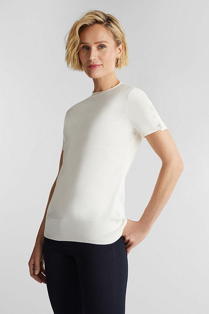 Short sleeve jumper made of LENZING™ ECOVERO™, OFF WHITE, detail image number 0