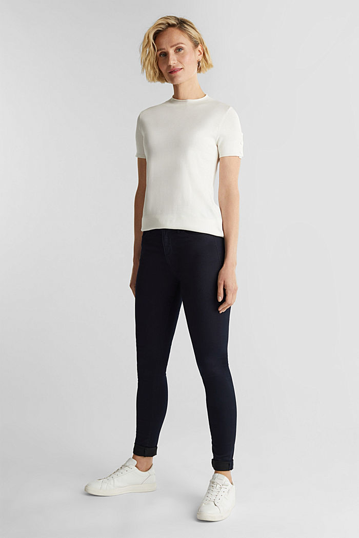 Short sleeve jumper made of LENZING™ ECOVERO™, OFF WHITE, detail image number 1