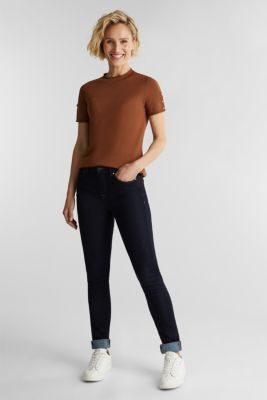Short sleeve jumper made of LENZING™ ECOVERO™, TOFFEE, detail
