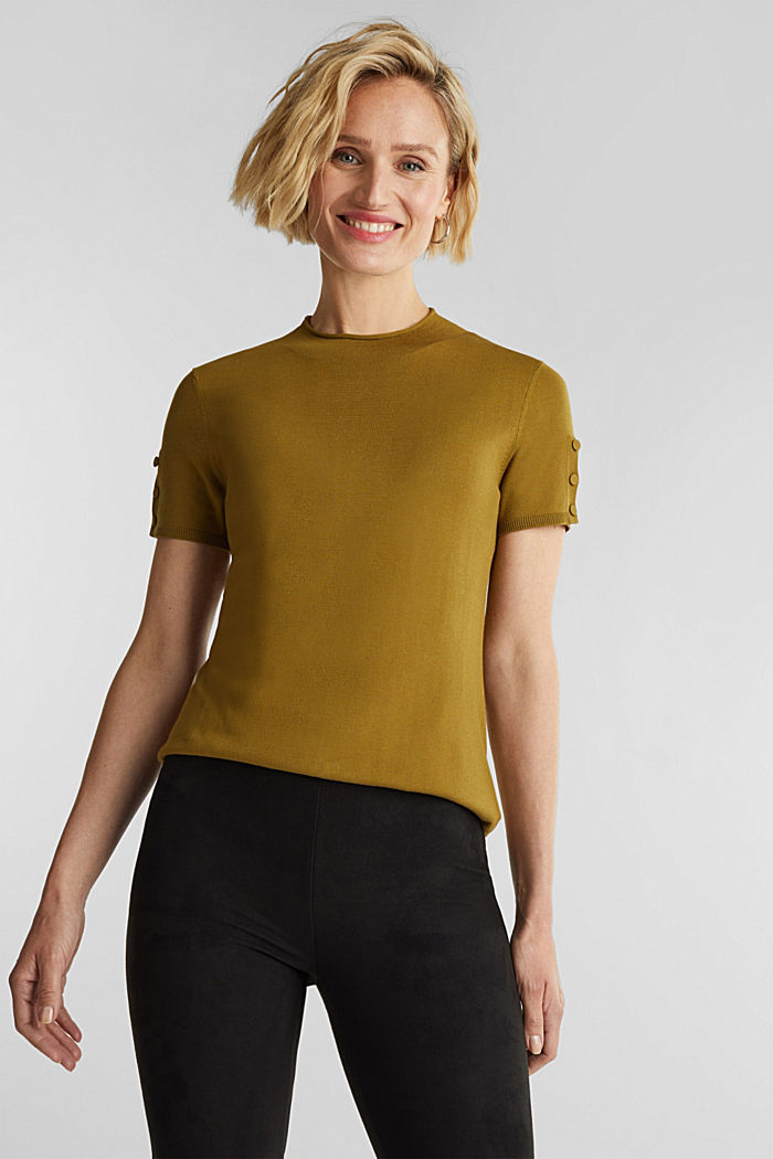 Short sleeve jumper made of LENZING™ ECOVERO™, OLIVE, overview